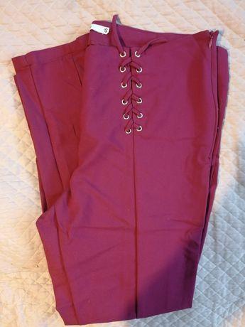 Bordowe spodnie z wiązaniem Ryłko