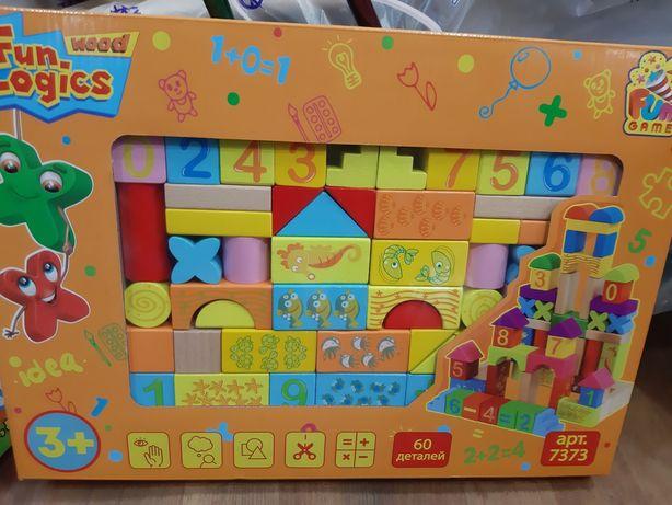 Деревянные кубики Деревянный конструктор 60 деталей