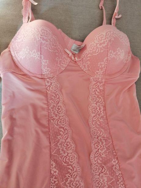 Sexi koszulka ze stanikiem różowa r. S