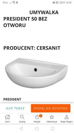 Umywalka Cersanit bez otworu 50