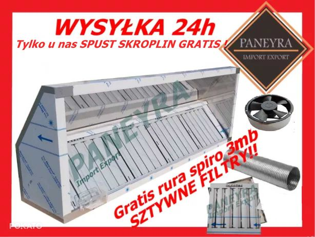 Okap Gastronomiczny 280x70x40+Filtry+Wentylator Nowy Wysyłka