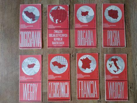 Mapa Przeglądowa Europy 8 sztuk ZSRR,Jugosławia,Węgry,Czechosłowacja