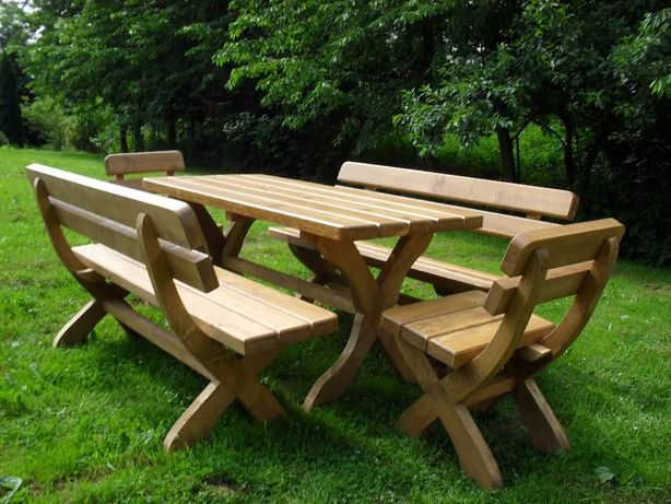 Meble ogrodowe drewniane, zestaw do ogrodu, komplet ogrodowy, ANNA