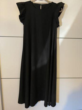 Vestido Comprido Preto Mangas Bufantes