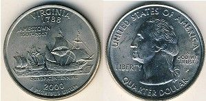Монета США. Парусник - 25 центов, никель, 2000. Вирджиния