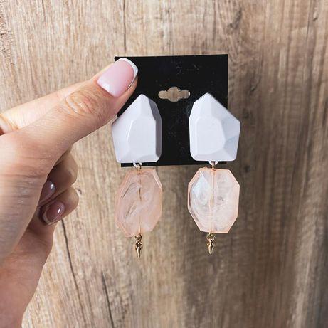 Różowe eleganckie kolczyki kamienie gems ASOS nowe wiszące
