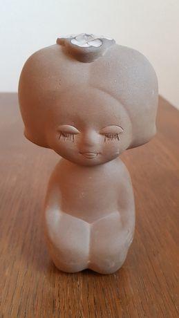 Figurka siedząca dziewczynka, metka TEKT, USSR vintage PRL retro