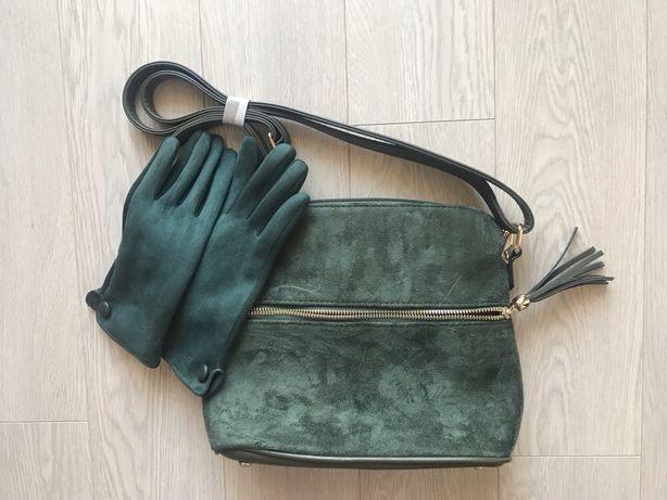 Ciemnozielona zamszowa torebka i rękawiczki z Hiszpanii nowe z metką
