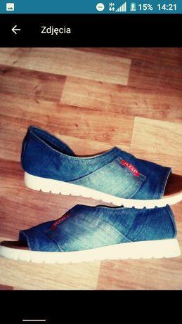 Jeansowe świetne buty wiosna lato rozmiar 38