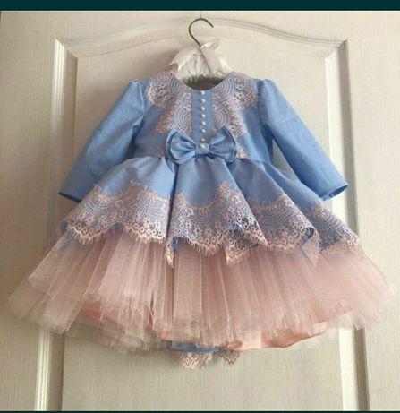 Нарядное платье на годик для девочки, повязка, пинетки, сукня на рочок