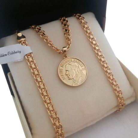 Złoty łańcuszek bismark + medalik Jan Paweł II 18K 60cm GWARANCJA