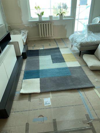 Dywan wełniany Linie Design 140 200 Tetris aqua