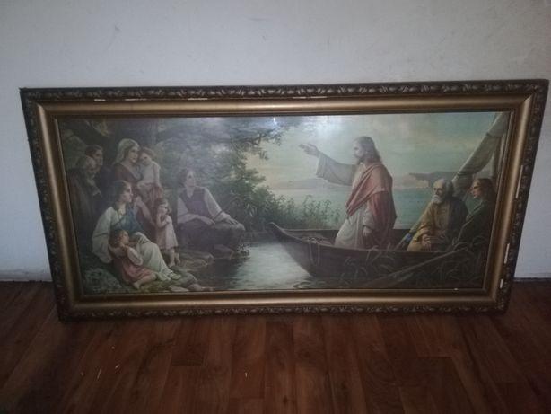 Duży Obraz o tematyce religijnej. Rzeźbiona rama