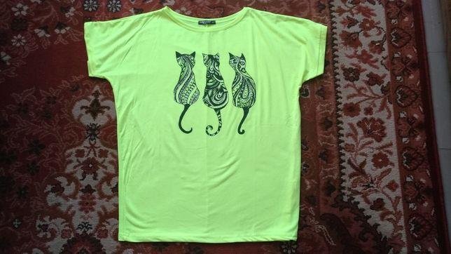 Nowa neonowa damska żółta bluzka XL