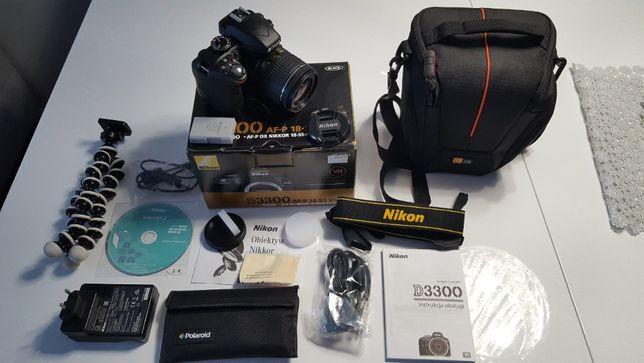 Aparat Nikon D3300 + AF-P DX NIKKOR 18-55mm f/3.5-5.6G VR + dodatki