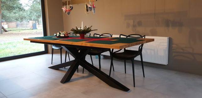Stół debowy 200 x 100 cm blat 4 cm nogi pajak czarne Nowy