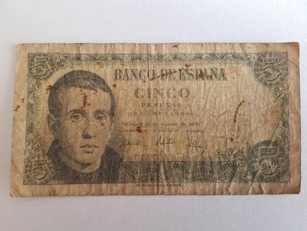 Nota de 5 pesetas do ano 1951