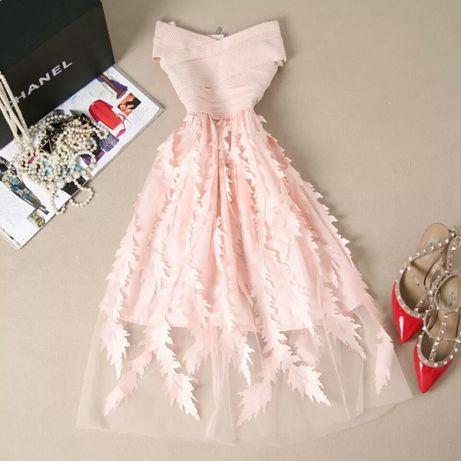 Zjawiskowa sukienka pudrowy róż