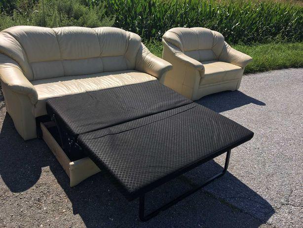 Шкіряний  розкладной диван, кожаный комплект