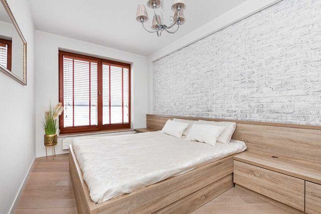 Łóżko podwójne ze stelażem i szufladami