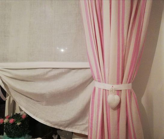 Zasłona zaslonka dziecięca 100x160 komplet tanio różowa zasłona