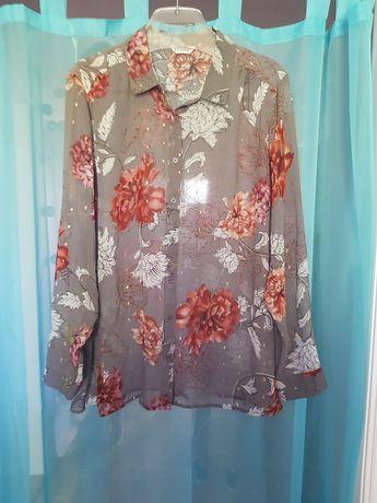 Koszula 44 kwiaty szara stylowa bluzka