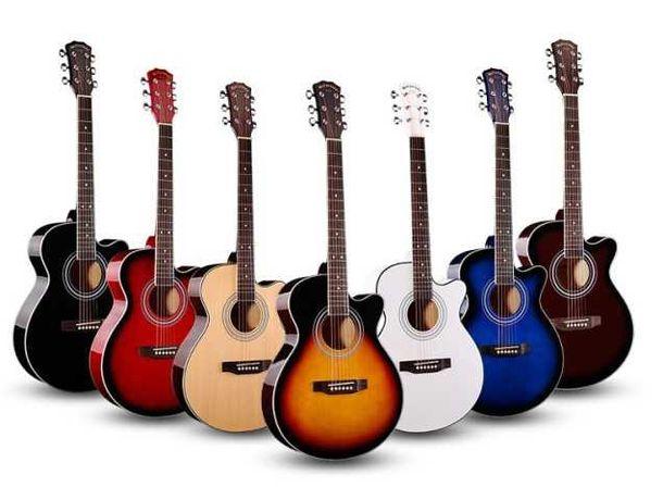 Гитара акустическая размер 38 - 40 дюймов, разные цвета