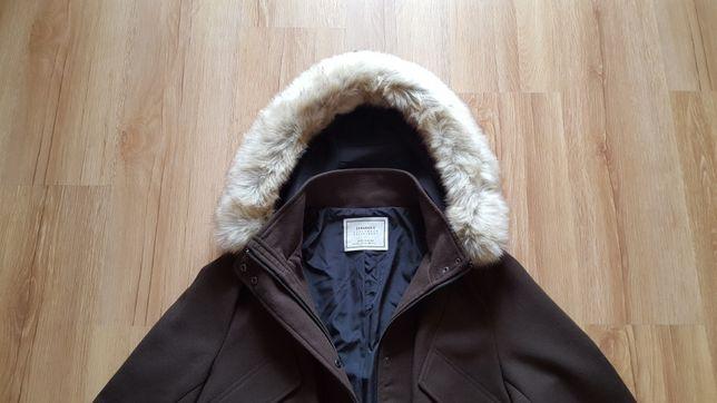 Płaszcz jesienno - zimowy Zara kaptur futerko brąz rozmiar XL