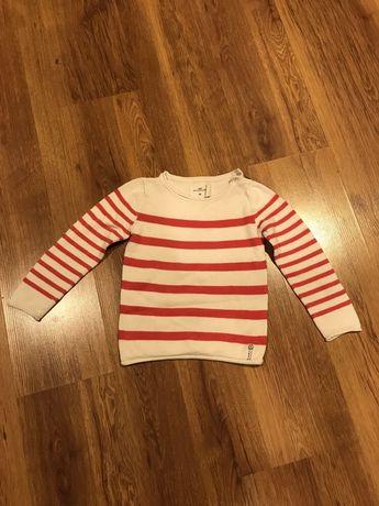 H&M LOGG sweter w paski r 110-116 biało czerwone