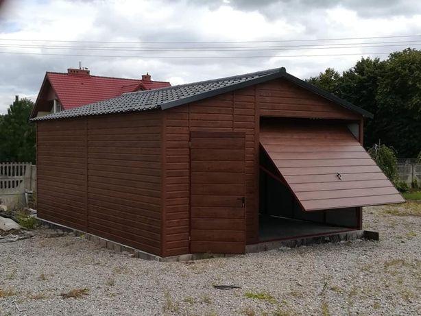 Garaż drewnopodobny Blaszak 5x6 z pomieszczeniem gospodarczym