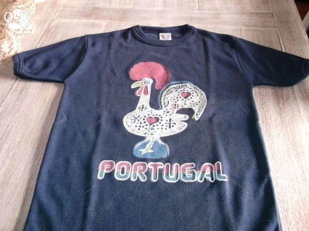 T'shirt de criança azul com galo estampado