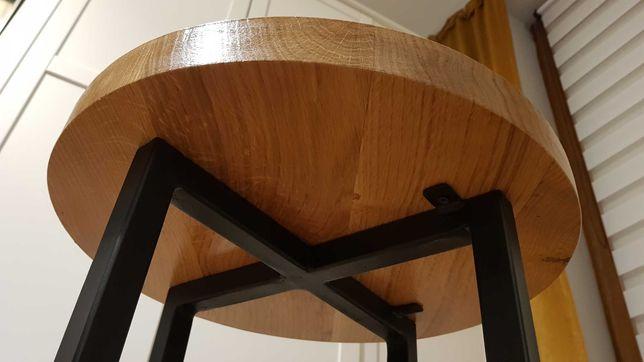 Stolik okrągły dębowy kawowy loft industralny, tanio