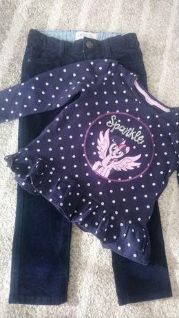 Zestaw granatowy spodnie sztruksy H&M rozmiar 98 bluzka groszki C&A