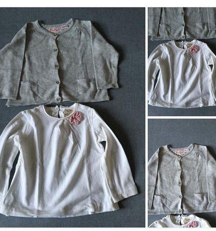 Sweat branca e casaco malha cinza ZARA KIDS tamanho 12/18 novos