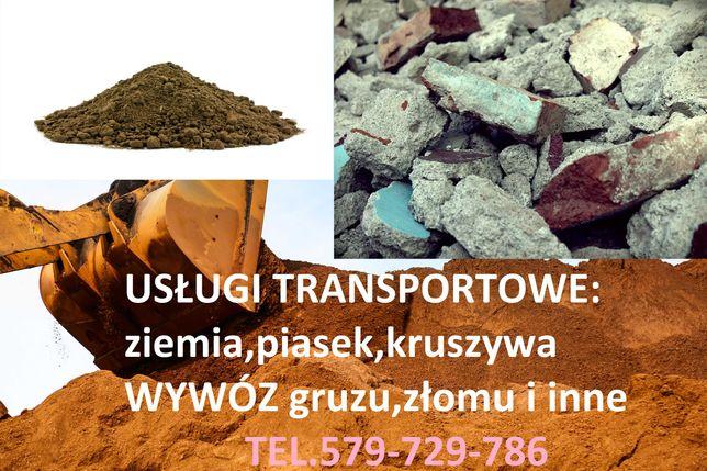 Transport ziemi,kruszyw,piasku,żwiru,kamieni.Wywóz gruzu,złomu i inne