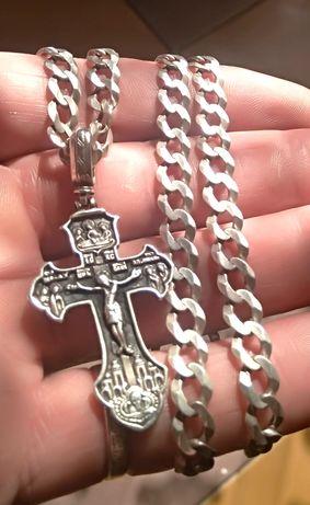 Цепь с крестом . Серебро 925