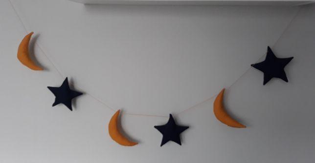 Girlanda gwiazdki księżyce hand made