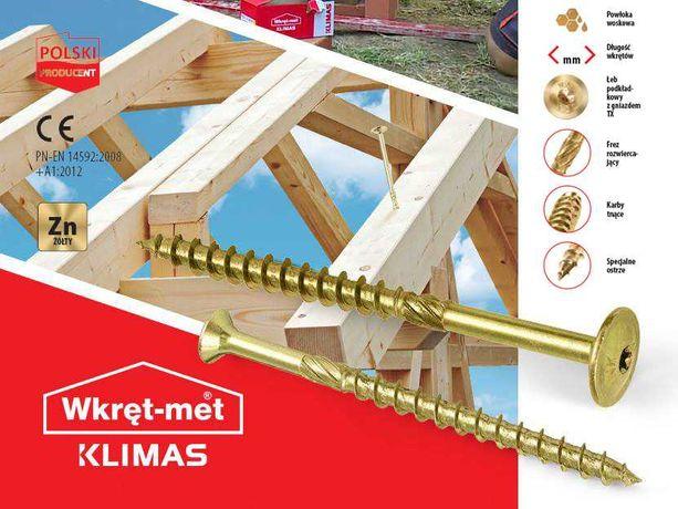 WKRĘTY CIESIELSKIE Talerzowe TORX 6x120mm do Drewna Wkręt-met Klimas