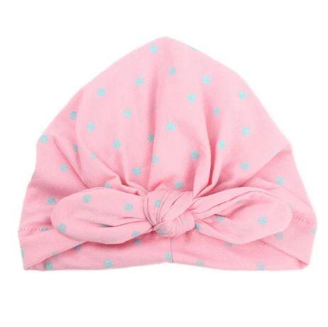 Czapka, czapeczka bawełniana, turban, turbanik, pudrowy róż w kropki