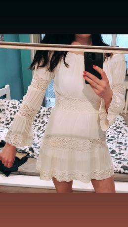 Missguided sukienka boho kremowa beżowa biała szerokie rękawy S