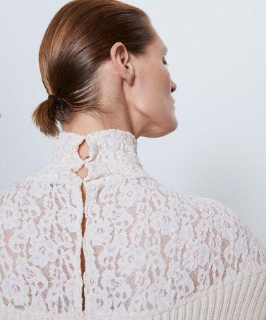 Zara nowy sweter golf biały ecru koronkowy S M