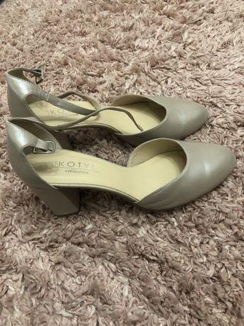 Czółenka buty ślubne Kotyl perła lico rozmiar 40