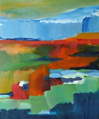 Obraz olejny 50x60, olej na płótnie 2019 Abstrakcja Rękodzieło