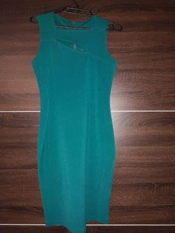 Sukienka w kolorze butelkowej zieleni z tylu zloty suwak roz xs