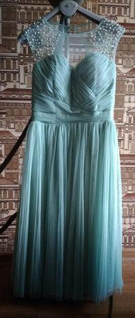 Нарядное мятное платье 3слоя Фатина 42р