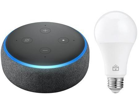 Envio grátis! Echo dot 3gr +lâmpada Amazon alexa