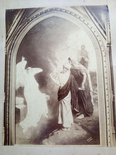 2 ok. 100-letnie zdjęcia religijne przyklejone na kartonie - obrazy