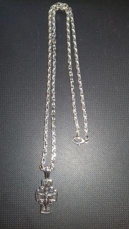 Серебряная якорная цепь с серебряным крестиком