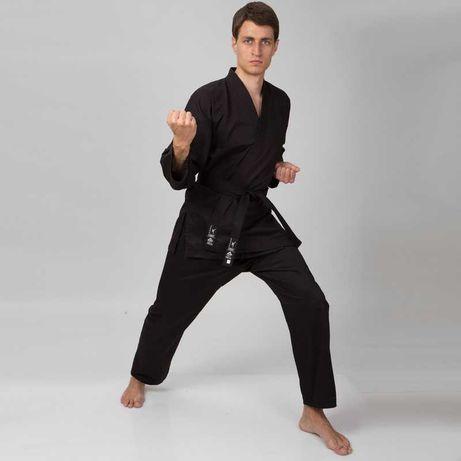 Кимоно для карате (каратэ) Matsa, хлопок, размер 110-190 см, черный