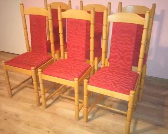 krzesła drewniane, tapicerowane 12 sztuk